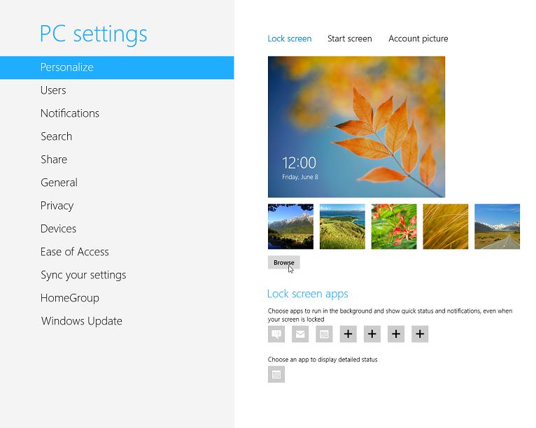 Windows8 の Metro UI 版コントロールパネル